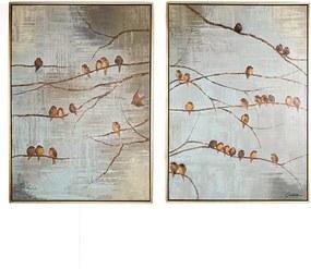 Sada 2 ručne maľovaných obrazov Graham&Brown Birds