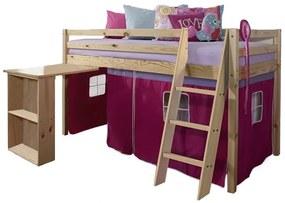 TEMPO KONDELA Alzena 90 drevená poschodová posteľ s roštom borovica / ružová