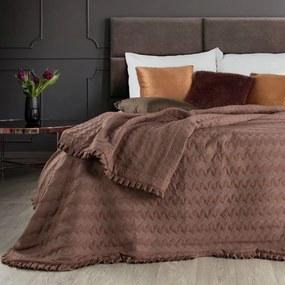 Eurofirany Tehlový zamatový prehoz na posteľ PAMELA 170x210 cm