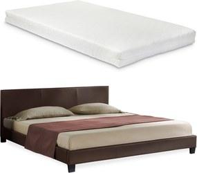 Corium® Moderná manželská posteľ - Barcelona - s matracom - tmavo hnedá - 180 x 200 cm