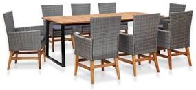 vidaXL 9-dielna vonkajšia jedálenská súprava, polyratan+akáciové drevo
