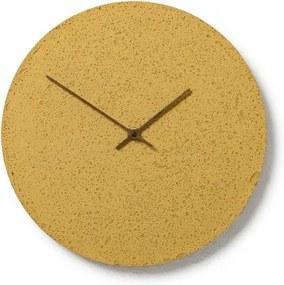 CLOCKIES CEMENT 30 nástenné hodiny Žltá Orechové drevo