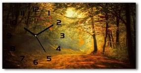 Sklenené hodiny na stenu tiché Les jeseň pl_zsp_60x30_f_60738927