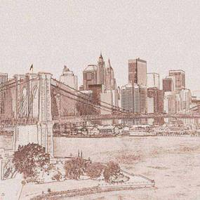 Dimex fototapeta Manhattan Sépiová kresba L-311   220 x 220 cm