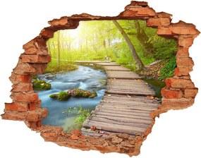 Nálepka fototapety 3D výhľad Chodník v lese WallHole-cegla-90x70-63778873