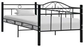 vidaXL Rám dennej postele, čierny, kov 90x200 cm
