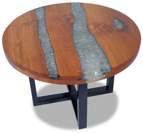 vidaXL Konferenčný stolík z teakového dreva a živice, 60 cm