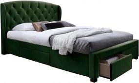 Hector Čalouněná postel Sabrina 160x200 dvoulůžko - zelené