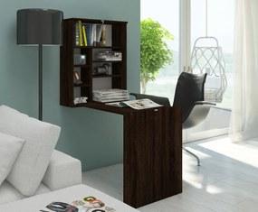 MEBLOCROSS Hide rozkladací písací stolík s regálom sonoma tmavá