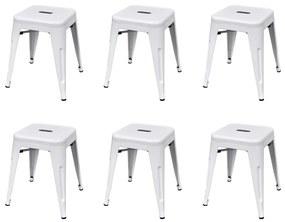 vidaXL Stohovateľné stoličky 6 ks, biele, oceľ