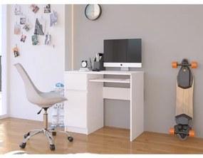 Počítačový stôl Piksel biely ľavý