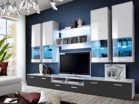 Obývacia stena Aston 2 (biela + sivá) (s osvetlením)