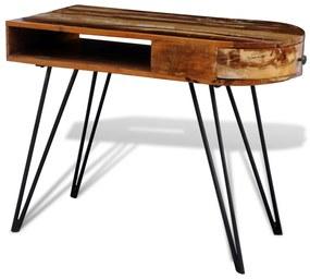 """vidaXL Písací stôl z recyklovaného masívu s úzkymi železnými """"hairpin"""" nohami"""