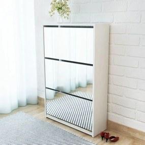 vidaXL Botník s 3 zrkadlovými skrinkami, biely, 63x17x102,5 cm