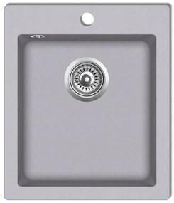 vidaXL Zápustný kuchynský drez, jedna vanička, granit, sivý