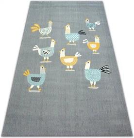 MAXMAX Detský kusový koberec Kuriatko - sivý šedá