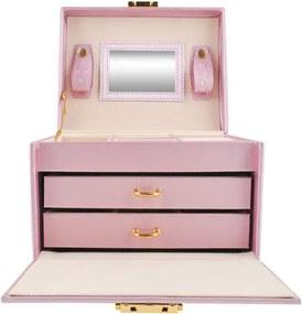 ISO Šperkovnica so zrkadlom na kľúč, ružová, 6400