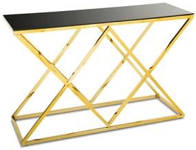 DekorStyle Konzolový stůl Dejres černo-zlatý