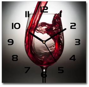 Sklenené hodiny štvorec Červené víno pl_zsk_30x30_f_86527564