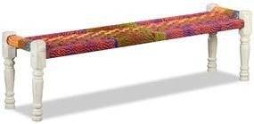vidaXL Lavička z masívneho akáciového dreva s chindi látkou, viacfarebná