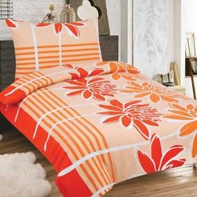 HOD Obliečky PALOMA oranžová Zips Bavlna 70x90 140x200 cm