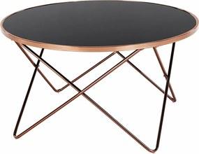 Konferenčný stolík, rose gold chróm ružová/čierna, ROSALO