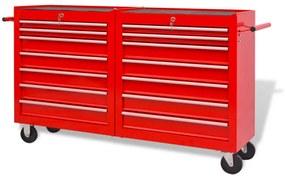 Vozík na náradie so 14 zásuvkami, veľkosť XXL, oceľový, červený