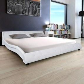244323 Edco Biely rám postele, umelá koža, 180x200 cm