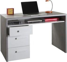 Sconto Písací stôl BELLE betón/biela vysoký lesk