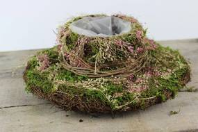 Zeleno ružový prírodný klobúk 25cm