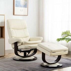vidaXL Sklápacie kreslo, krémovo biele, umelá koža a ohýbané drevo