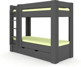 DREVONA09 Poschodová posteľ REA PIKACHU šedá, ľavá