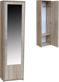 Predsieňová šatníková skriňa s úložným priestorom a zrkadlom 50 cm Javor