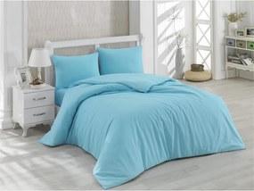 Modré bavlnené obliečky s plachtou na dvojlôžko Minimal, 200 × 220 cm