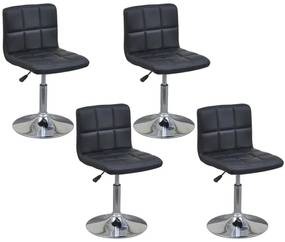 4 čierne otočné kuchynské stoličky s nastaviteľnou výškou a operadlom