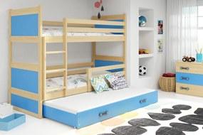 Poschodová posteľ s prístelkou RICO 3 - 200x90cm - Borovica - Blankytný