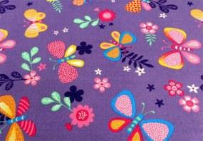 MAXMAX Detský koberec Motýľ LÚKA - fialový oranžová