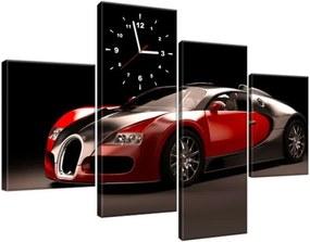 Obraz s hodinami Červené Bugatti Veyron 120x80cm ZP2376A_4E