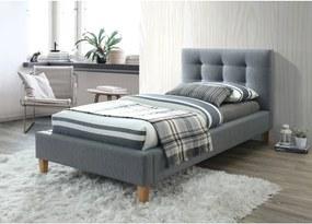 Sivá čalúnená postel TEXAS 90 x 200 cm Matrac: Matrac COCO MAXI 23 cm
