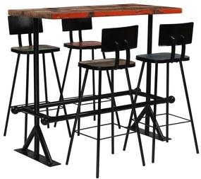 vidaXL Rôznofarebná 5-dielna barová súprava, masívne recyklované drevo