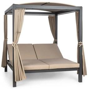 Eremitage Double XL slnečné ležadlo, 2 osoby, kovový rám, slnečná strecha, závesy
