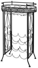 Kovový regálový stojan na 9 vínových fľiaš, so stolíkom a háčikmi