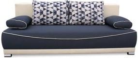 TEMPO KONDELA Pohovka rozkladacia, s úložným priestorom, látka sivá/béžová/vankúše vzor, DINAR