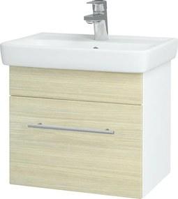Dřevojas - Koupelnová skříň SOLO SZZ 50 - N01 Bílá lesk / Úchytka T02 / D04 Dub (21842B)