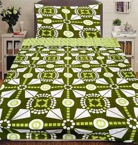 HoD Dvojstranné obliečky Malvína Zelené Bavlna 2ks 70x90, 2ks 140x200 cm