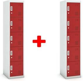 Päťdverová skrinka, cylindrický zámok, 1800 x 380 x 450 mm, sivá/červená, 1+1 ZADARMO