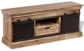 TV stolík s 2 posuvnými dvierkami, masívne mangové drevo, 110x30x45 cm