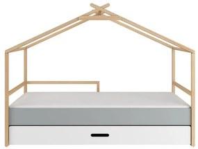 BELLAMY TeePee detská posteľ domček so zásuvkou, biela/šedá/drevo