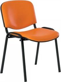 Kožená konferenčná stolička Viva - čierne nohy oranžová