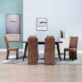 vidaXL Jedálenské stoličky 6 ks hnedé umelá semišová koža